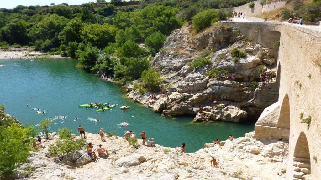 Zwemplek Pont du Diable, Balaruc-les-Bains, Hérault, Frankrijk