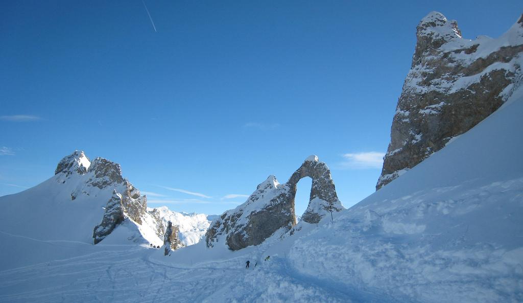Rotsformatie L'Aiguille percée, Tignes, Franse Alpen