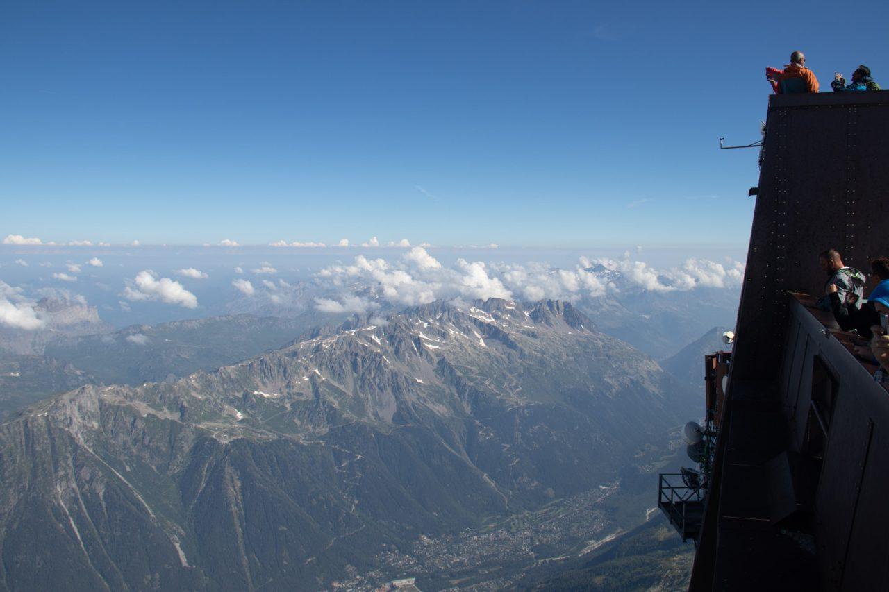 Boven op de Aiguille du Midi